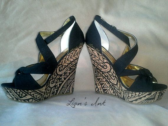 Polynesian Designed Wedges by LiONSiNK on Etsy, $110.00