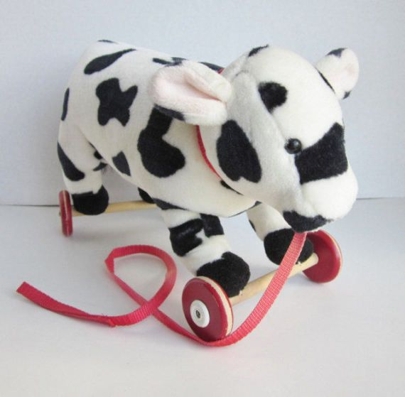 Vintage Cow Pull Toy Plush Cow Toy Pull A Long by BaggageAndBones