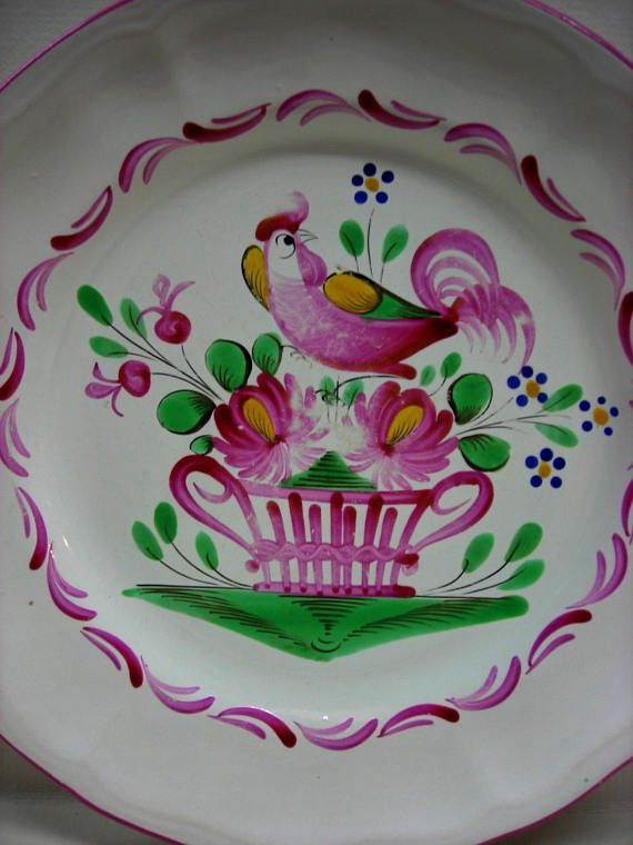 French Pottery Rooster Plate Hand Painted Pink Bird Basket