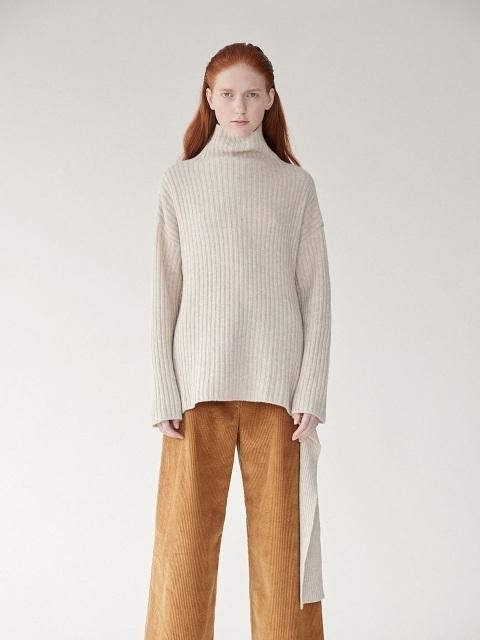 7e7f856648acf Ribbed Pullover With Side Tie Oatmeal  Neck Measurement Length Pullover