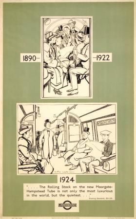 Poster; Rolling stock on new Hampstead tube, by Arthur Watts, 1924