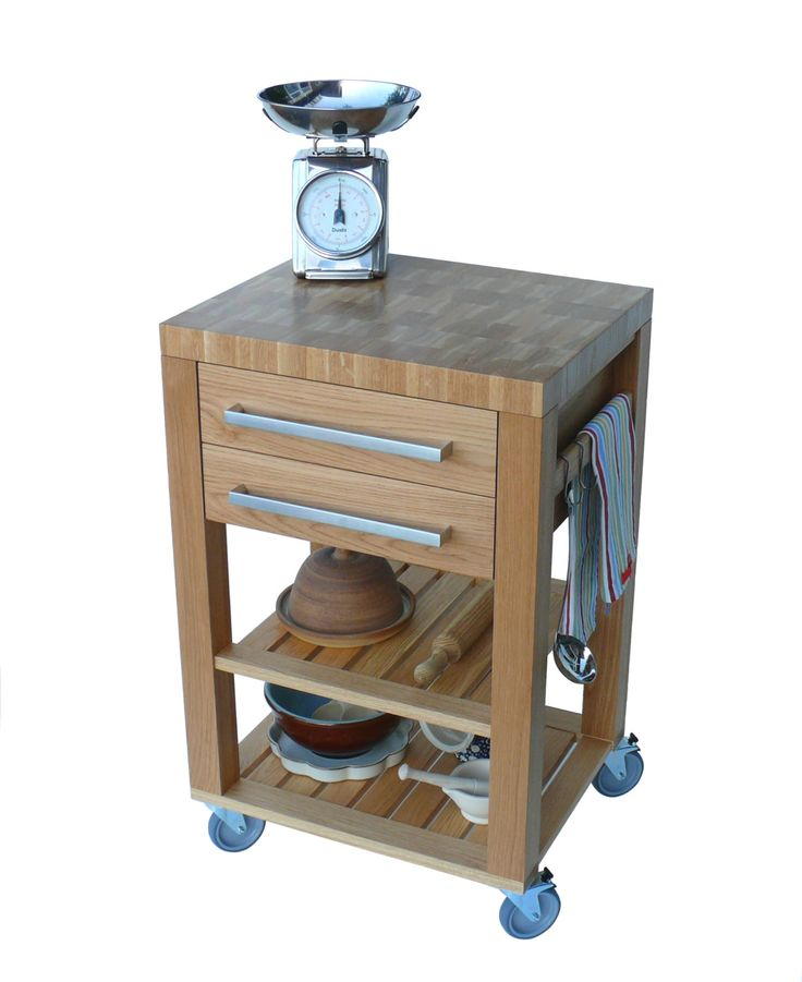 Butcher Block Island Kitchen Trolley Handmade Solid Oak With End Grain Worktop By Jjpfurniture
