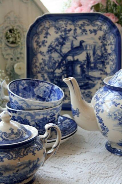 Blue and white tea service.