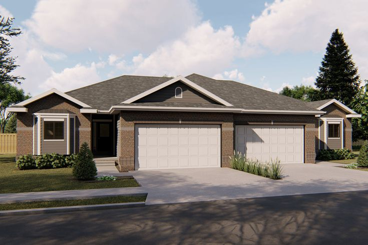 Plan 62638dj Duplex House Plan With Simple Roof Line Duplex House Plans Duplex Floor Plans Family House Plans Home plans with simple roof lines