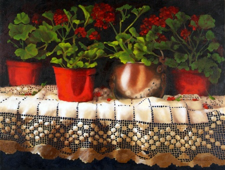 """Geranium Collection""  oil by Yvonne Hartmann SmithYvonne Hartmann, Geraniums Collection, Area Artists, Hartmann Smith, Dc Area"