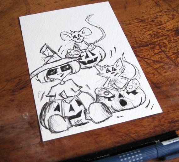 whimsical illustration pumpkin head postcard art original