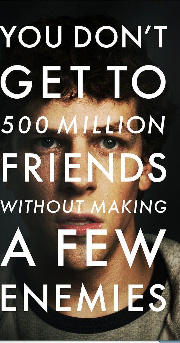 Directed by David Fincher.  With Jesse Eisenberg, Andrew Garfield, Justin Timberlake, Rooney Mara. Harvard student Mark Zuckerberg creates the social networking site that would become known as Facebook, but is later sued by two brothers who claimed he stole their idea, and the cofounder who was later squeezed out of the business.
