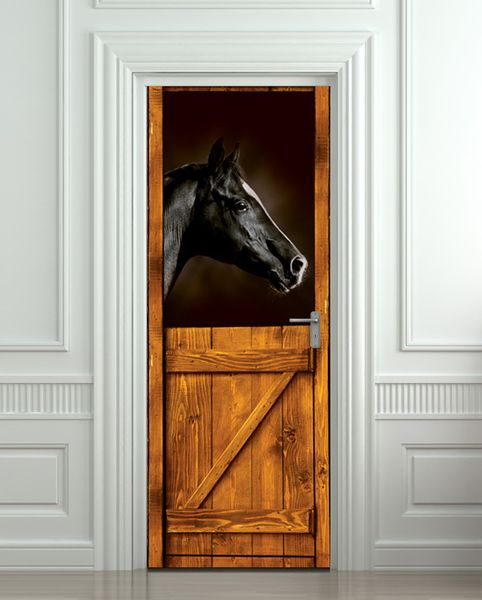 Door STICKER horse black stall zoo mural decole. The 25  best Horse mural ideas on Pinterest   Western kids rooms