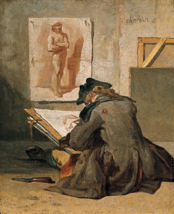 Young Student Drawing by Jean Simeon Chardin, c.1738