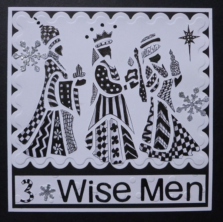 'Three Wise Men' Tangled card, made using Imagination Craft's stencil.   I drew the outline and filled in the shape with tangles.  June 2014.    Designed by Jennifer Johnston.