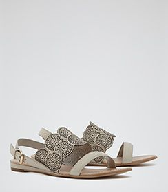 Womens Bone Laser-cut Flat Sandals - Reiss Cordoba
