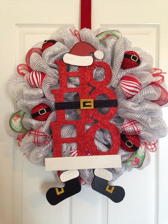 Christmas Deco Mesh wreath on Etsy, $70.00