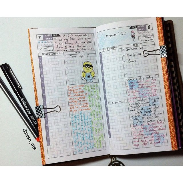 Day On One Page Layout For Midori Traveler S Notebook In
