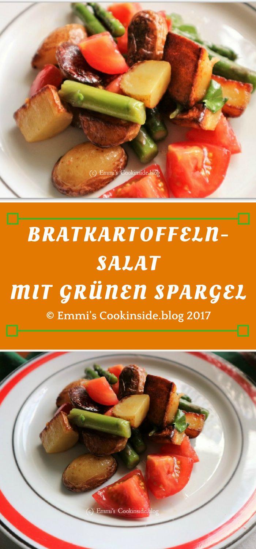 Bratkartoffeln-Salat mit grünen Spargel, eine leckere Beilage mit neuen Kartoffeln, grünen Spargel und Tomaten mit Bratkartoffeln. Einfaches Rezept