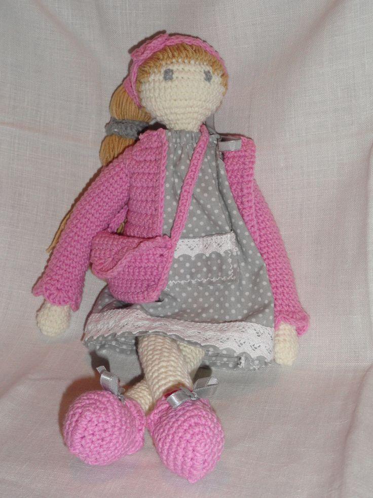 Lalka Anielka wykonana ręcznie, bezpieczna dla dzieci, wysokość ok.36 cm, wszystkie ubranka zdejmowalne
