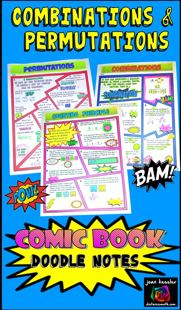 Your students will love this engaging new Comic Book style Doodle Note resource covering Permutations, Combinations, and the Counting Principle. Use it in class or as homework, assessment, or enrichment. A fun and engaging format for your students to learn the rules and practice their skills! Great for Algebra and Statistics.  It has been shown that doodling and working with fun themed activities help students engage with the material, and be more at ease in the learning environment. This is…