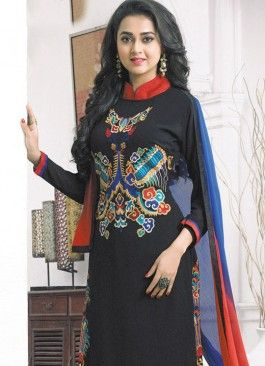 Glitzy Black and Red Coloured  Georgette Semi-Stitched Designer Salwar Suit
