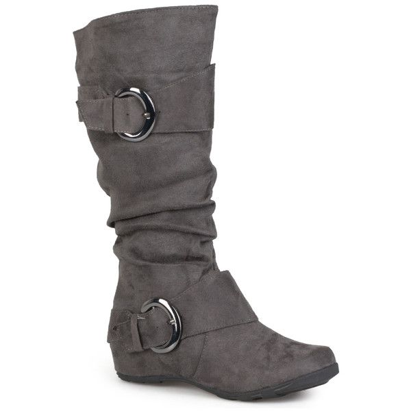 Journee Collection Womens Slouch Buckle Microsuede Boots ($44) ❤ liked on Polyvore featuring shoes, boots, grey, grey boots, mid calf slouch boots, tall flat boots, slouch boots and slouchy mid calf boots