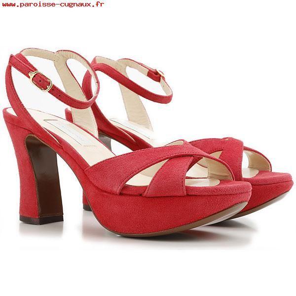 Chaussures Femme Lautre Chose Rouge feu Daim Sandales Fermeture Boucle 351470