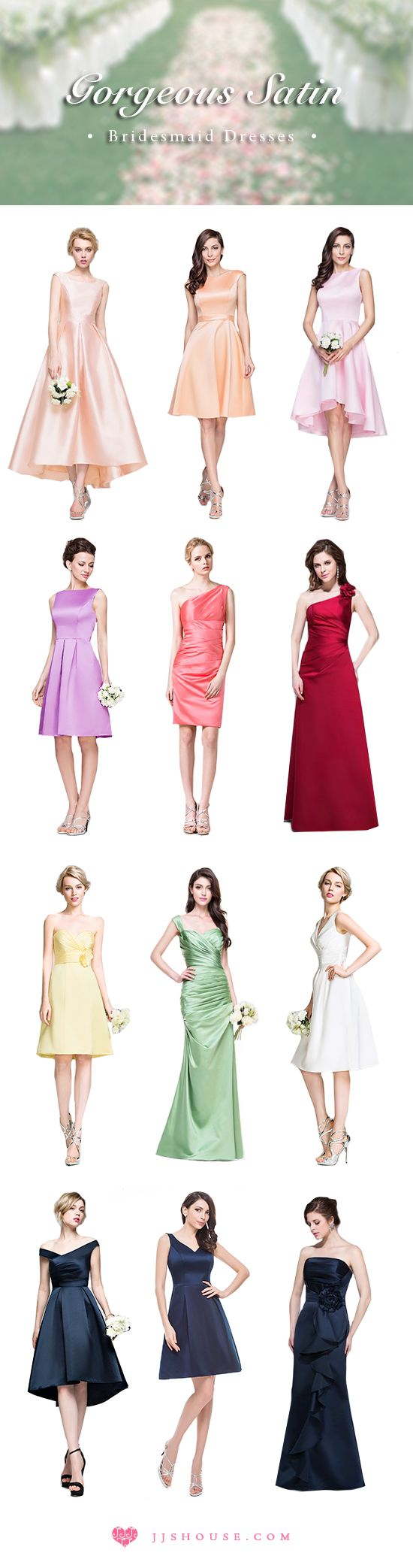 Gorgeous satin bridesmaid dresses collection. #bridesmaiddresses