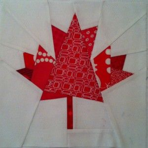 Paper-pieced Maple Leaf pattern