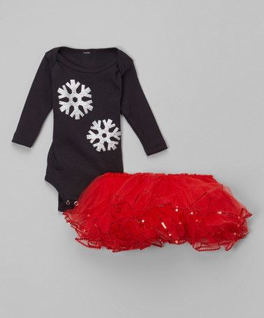 This Black Snowflake Bodysuit & Red Tutu - Infant is perfect! #zulilyfinds