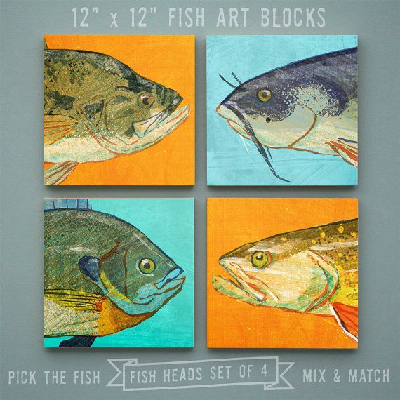 Fish Heads - Freshwater Fish Art Series Set of 4 Art Blocks - 12 in x 12 in Fish Wall Decor Fisherman Gift - Fathers Day Gift for Dad - Gift via Etsy