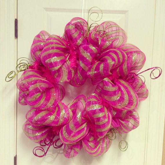 Pink and Green Striped Deco Poly Mesh Wreath $54.00