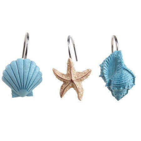 AGPtek 12PCS Home Seashell Anti Rust Decorative Resin Hooks for Bathroom Shower Curtain,Living room Curtain.Blue Shell