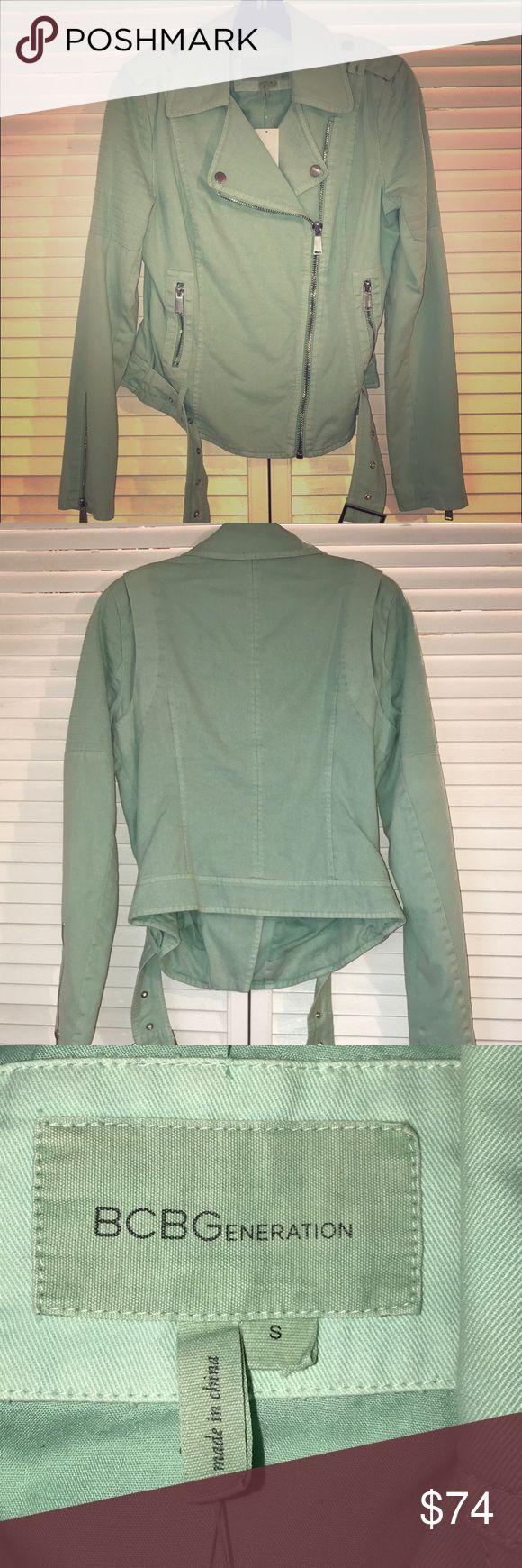 NWT Bcbg generation denim jacket •teal/mint color •denim jacket •zip-up closure and belt •NWT •size: small BCBGeneration Jackets & Coats Jean Jackets