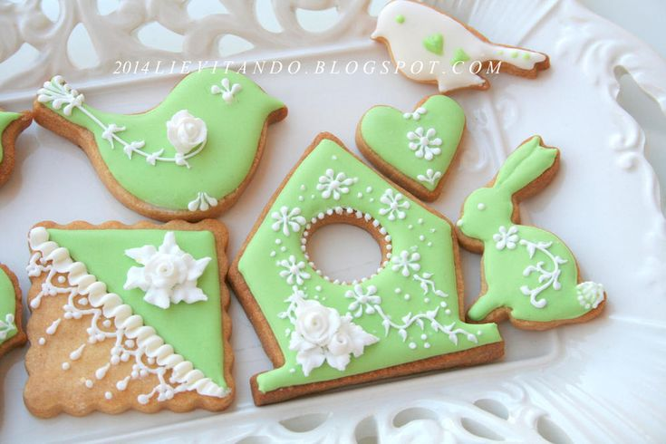 green embroidery, birds and small house in bloom   Cookie Connection