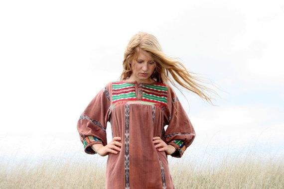 Vintage 70s HIPPIE Dress M L XL  Maxi TRIBAL by RubyChicBoutique, $117.00