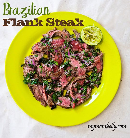 Brazilian Flank Steak (2 lbs flank steak, 1 t cumin, salt, pepper, 4 garlic gloves (grated or finely minced), 1/2 small red onion, finely chopped, handful of cilantro, leaves finely chopped, 1 Serrano chile finely minced, 1/3 c lime juice, and 1/2 cup olive oil)