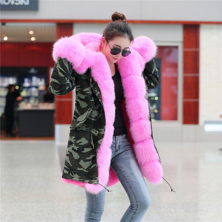 Купить товарПлюс размер 2016 новые длинные Камуфляж зимняя куртка женщин пиджаки толстые парки природный настоящее фокс меховым воротником пальто с капюшоном pelliccia в категории Мех натуральный и искусственныйна AliExpress.    201