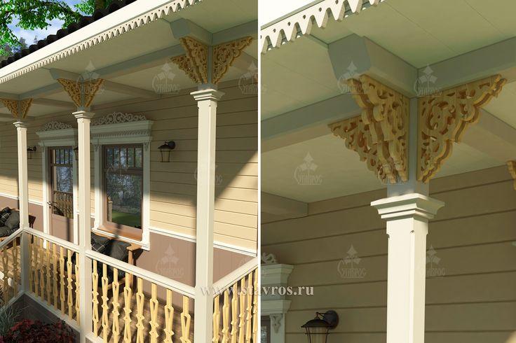 Дизайн-проект крыльца в Русском стиле, украшенного декоративными резными элементами. #дом #наличник #строительство #загородный #веранда #терраса #деревянный #резьба #резное #дерево #дизайн #house #design #wood