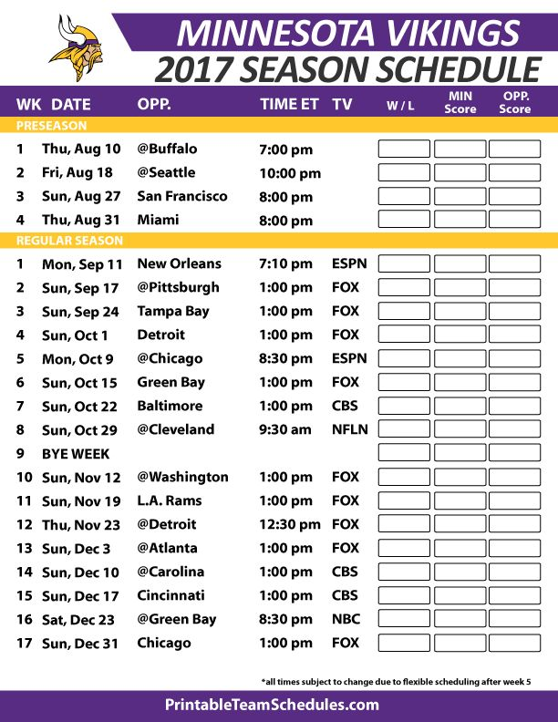 Minnesota VikingsFootball Schedule 2017