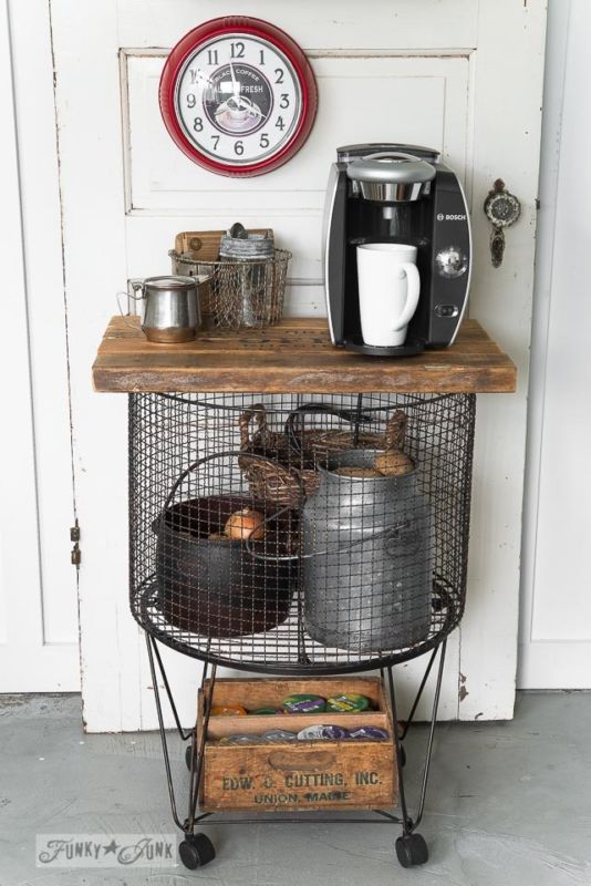 #3. Vintage cart with a reclaimed wood top / 6 ways to make a vintage coffee station... upcycled style! By Funky Junk Interiors for ebay.com