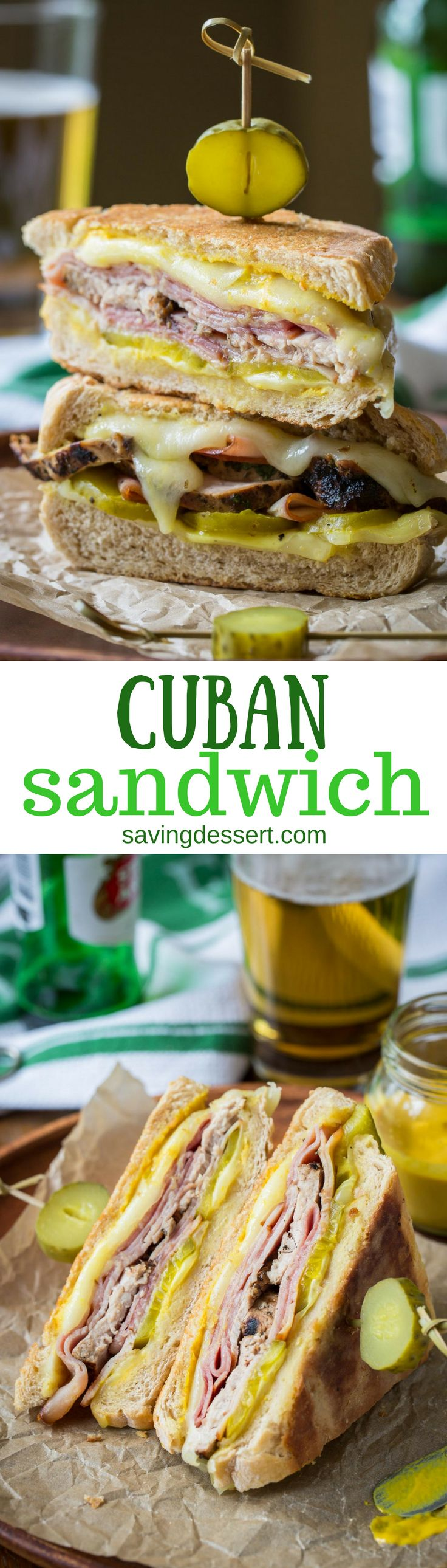The Cuban Sandwich (Cubano) ~ a hearty and delicious combination of sweet ham, juicy tender pork, melted Swiss cheese, dill pickles with a nice bite from a slathering of yellow mustard. www.savingdes (Sandwich Recipes)