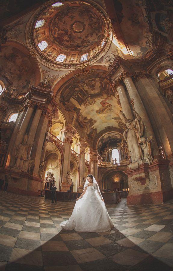 Pre Wedding Best of in Prague: a beautiful church portrait in Prague: http://pragueweddingphotography.com