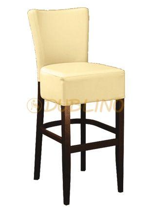LT7624 - Barová židle z bukového dřeva v různých barvách moření čalouněná koženkou.