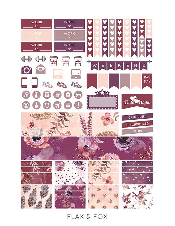 Printable SPARKLING POWDER Planner Stickers for the Erin Condren Life Planner…