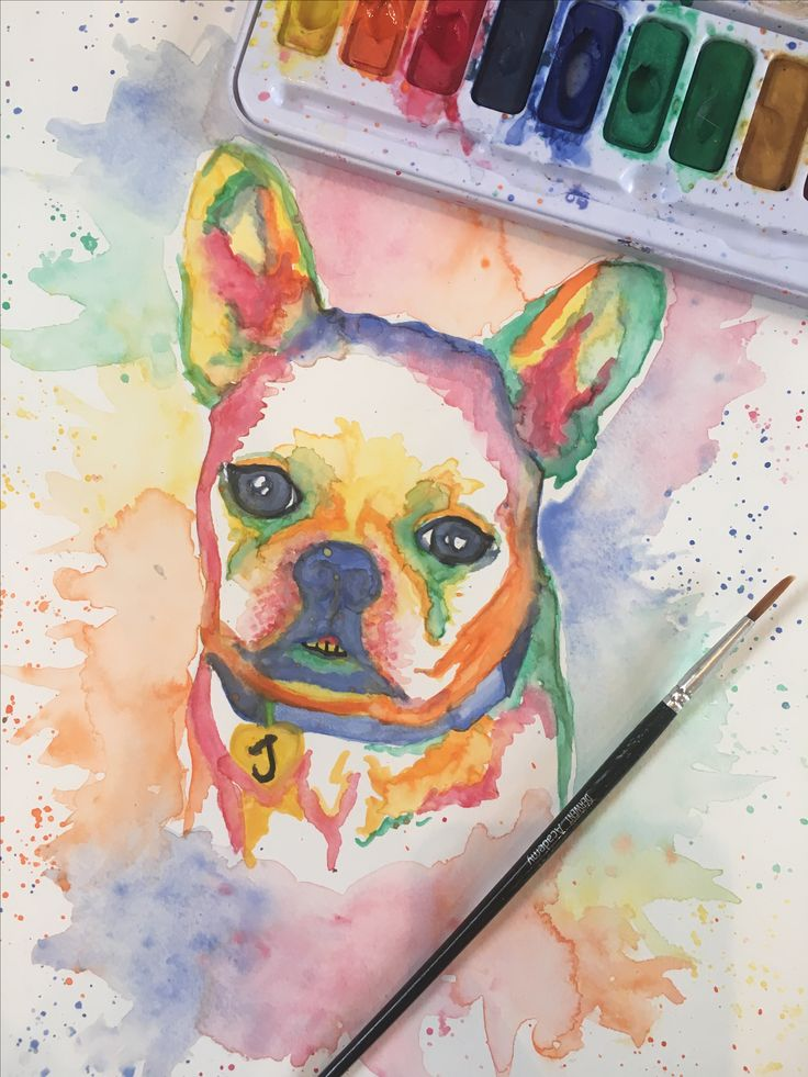 French Bulldog Watercolour Portrait - Pretty Poppy by Sally on Etsy https://goo.gl/ubFmI0