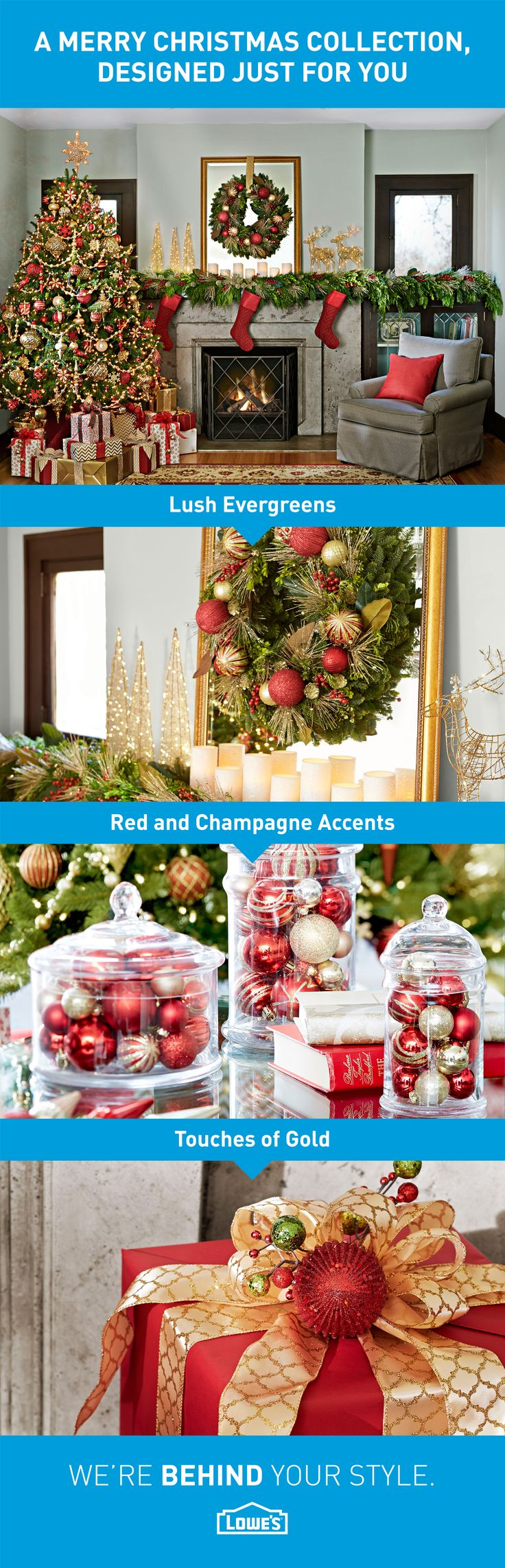 Put a sophisticated spin on traditional holiday décor with this classic Christmas collection, created by the Lowe's Style Team.