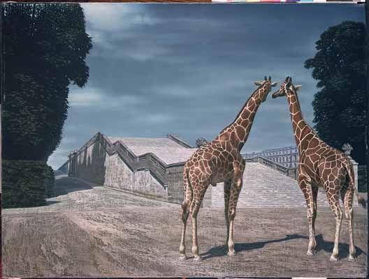 """Twee giraffen (Two Giraffes)"" a.k.a. ""Giraffen in het park van Versailles (Giraffes in the Park at Versailles)"", 1956 / Carel Willink (1900-1983) / Collection G.B. Huisman, Monaco"