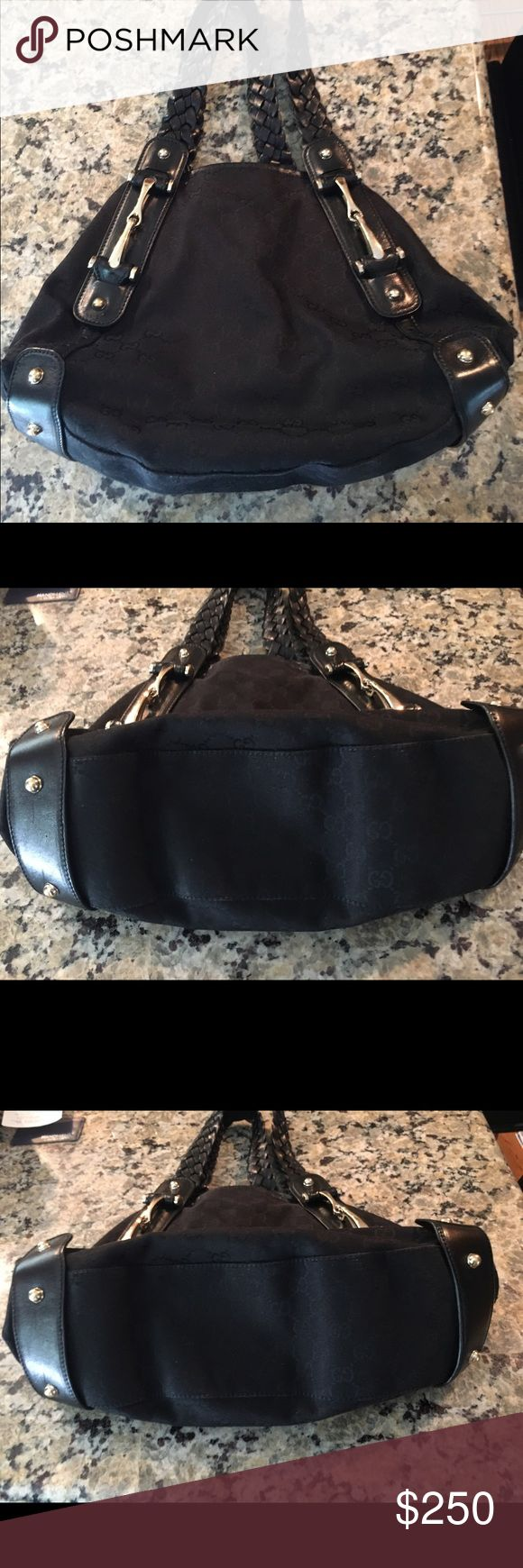 Authentic black Gucci bag Authentic black fabric/leather Gucci bag. Gently used, can't see wear on corners. Gucci Bags Shoulder Bags