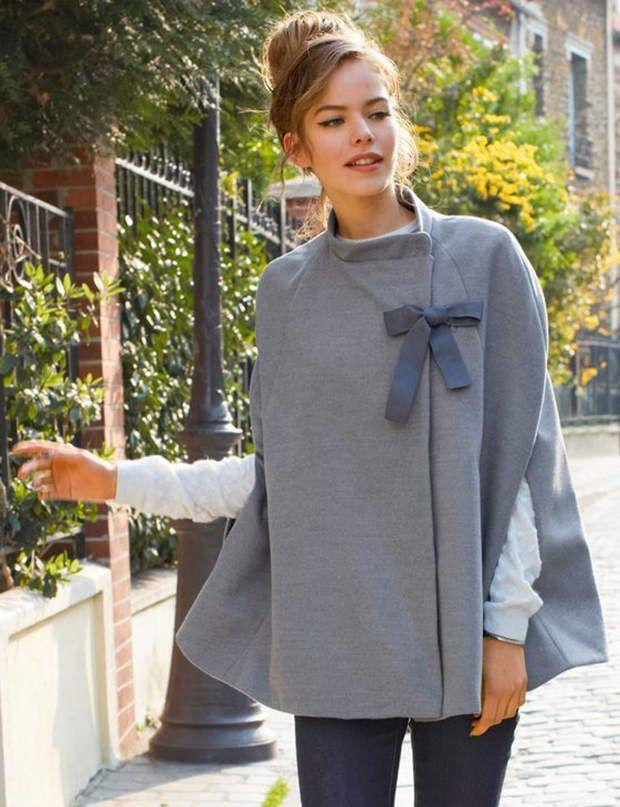 La cape nœudCape coloris gris chiné avec nœud en gros-grain, Mademoiselle R…