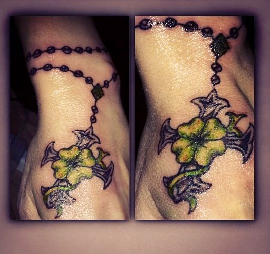 ... ROSERY TATTOOS on Pinterest | Ankle tattoos Kim saigh and Rosaries