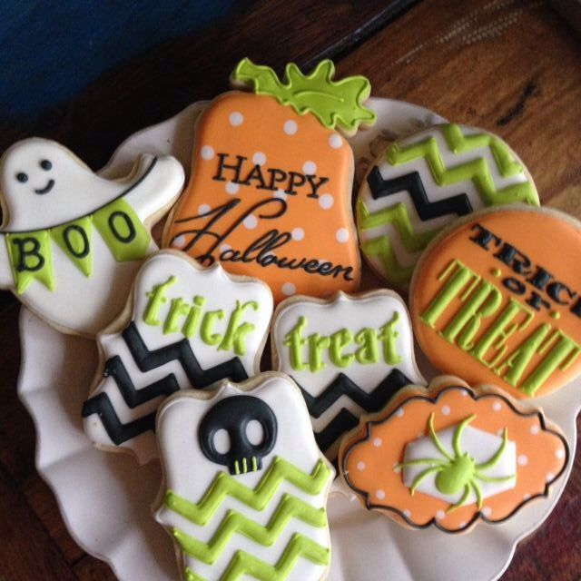 black green and orange halloween cookies with chevron bunting