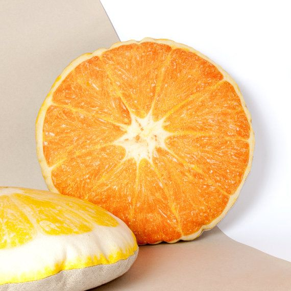 ORANGE PILLOW  food pillow  orange decor  kitchen by Casacova