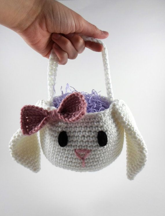 "Easter Bunny Basket Crochet Easter Basket Bunny by ProchetByEAS, 34.00...acrylic yarn...measures 4.5"" tall handle adds 4.5 inches to height and 7"" wide including ears..."